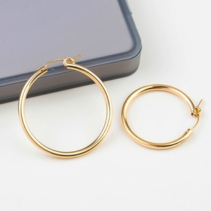 Image 4 - UM par 14 K gold filled brinco ganchos 15mm/19mm/22mm/29mm/ 35 dois milímetros de ouro cheias Brincos Clipe para brinco DIY fazendo descobertas jóias