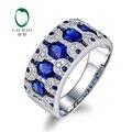 2.07ctw Caimao Jóias 18 k Ouro Branco Natural Sapphire & Diamante Anel de Noivado