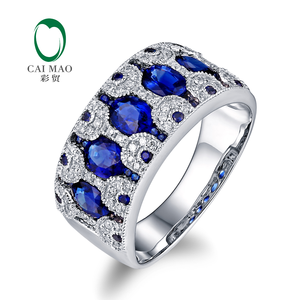 Caimao Jewelry 18k White Gold 2 07ctw Natural Sapphire & Diamond Engageme