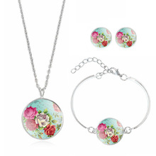 Fashion Jewelry Set Silver Plated with Glass Cabochon Flower Pattern Choker Necklace Earring&Bracelet Set for Women Gift