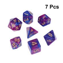 7 шт. многогранные кубики Непрозрачный акрил количество игры фиолетовый и синий кости набор для плитки игры настольные игры игра новое поступление