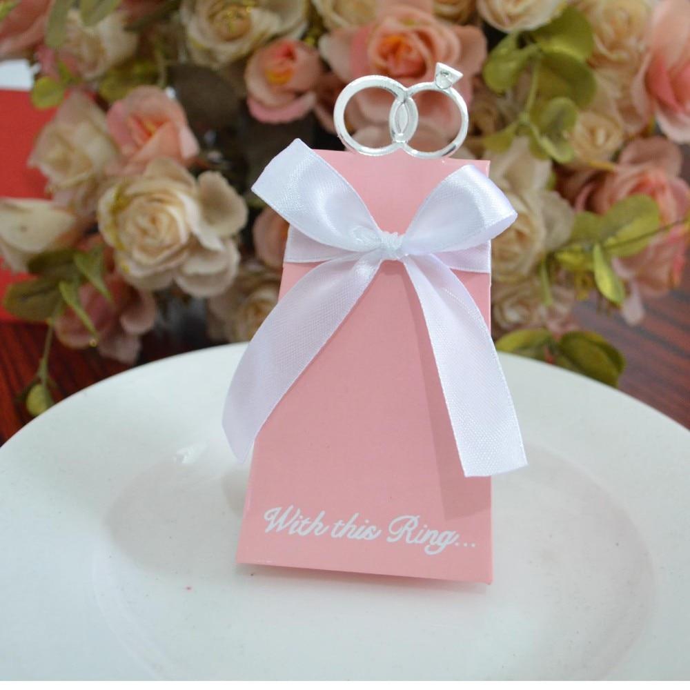 100pcs white Blue Pink diamond ring wedding candy box for wedding ...