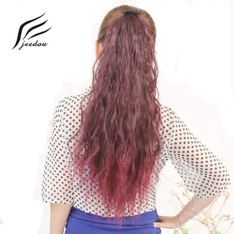 Synthetic Ponytails Nice Jeedou Kinky Curly 22 100g Synthetic Ponytail Blue Pink Red Ombre Color Ribbon Drawstring Ponytail Cosplay Hair Extensions Hair Extensions & Wigs