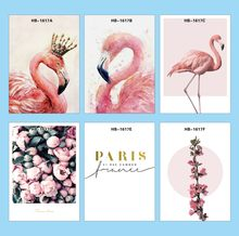 Original Watercolor Nice Pink Flamingo Poster Print Animal Photo Hipster living Room Wall Canvas Painting Gifts No Frame GX(China)