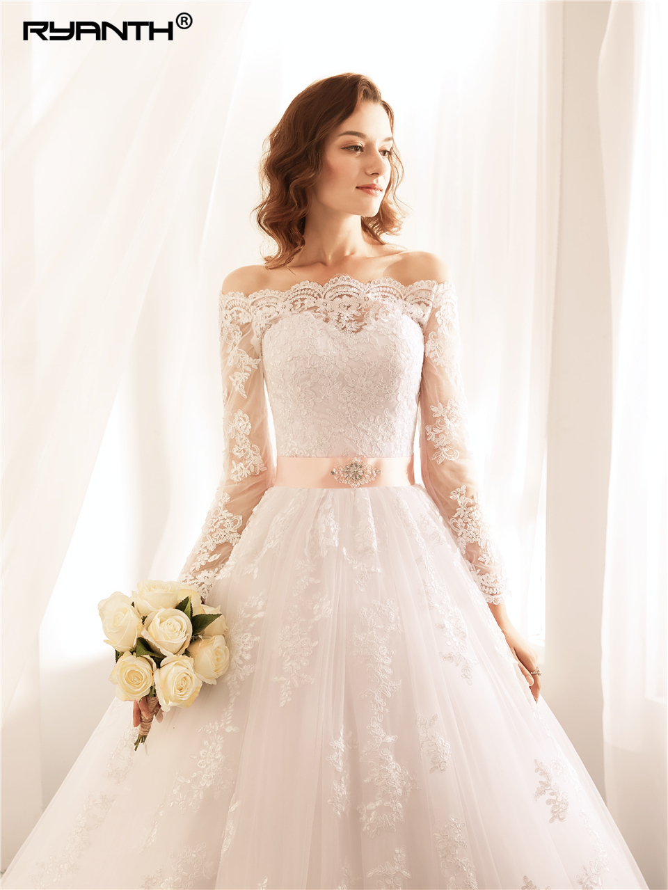Ryanth Robe De Mariee Ball Gown Wedding Dresses Lace Vestidos de Novia Sexy Luxury Long Sleeve Bride Wedding Gown Trouwjurk 2018