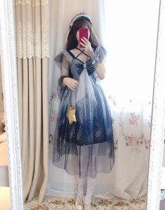 Image 4 - Lolita cielo Stellato Mesh dress Sailor Moon Grande arco Fionda vestito Blu e bianco gradiente di Ragazza Carina