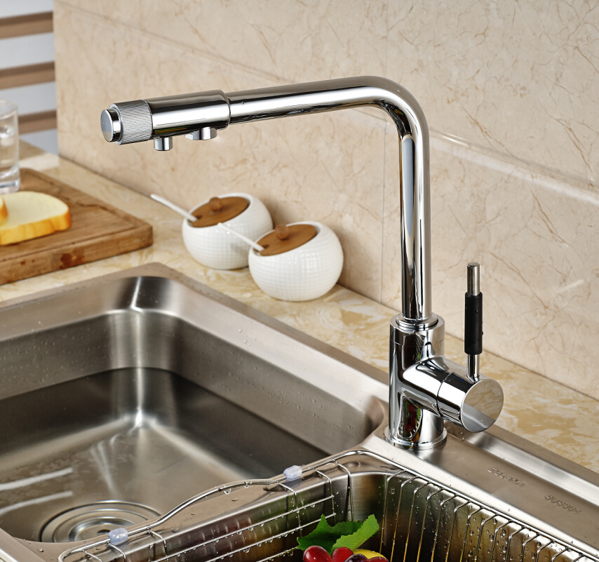 Chrome Hot/Cold Single Hole Pure Water Mixer Sink Water Tap Kitchen Wash Faucet Deck Mount new arrival tall bathroom sink faucet mixer cold and hot kitchen tap single hole water tap kitchen faucet torneira cozinha