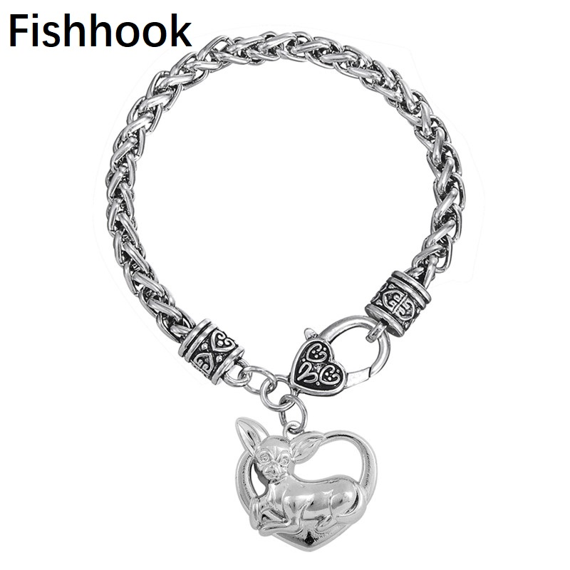 fishhook Heart shaped metal rhodium plated Chihuahua memorial <font><b>dog</b></font> lover <font><b>bracelet</b></font> image