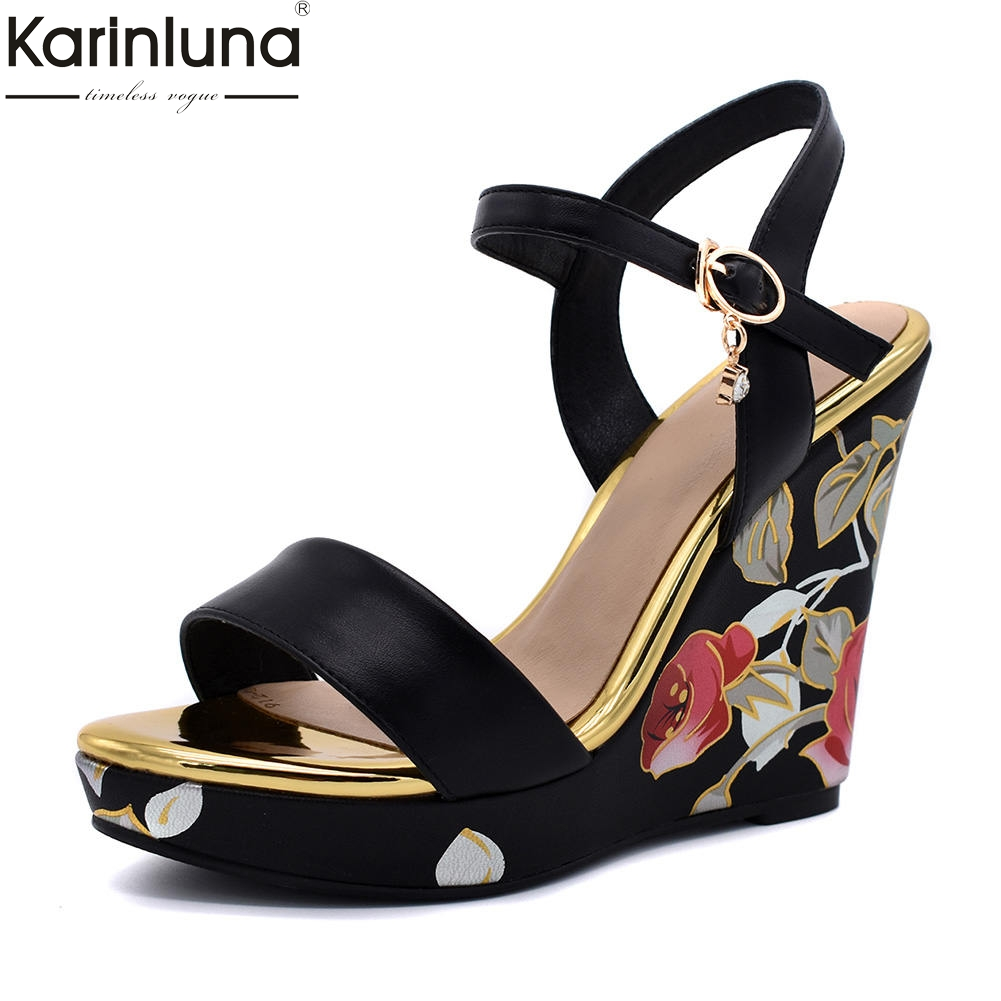 a856420a41c ... tacones altos fiesta zapatos de mujer Zapatos. Cheap Karinluna 2018  moda flores estampado talla grande 34 42 tobillo Correa verano sandalias  ocio cuña