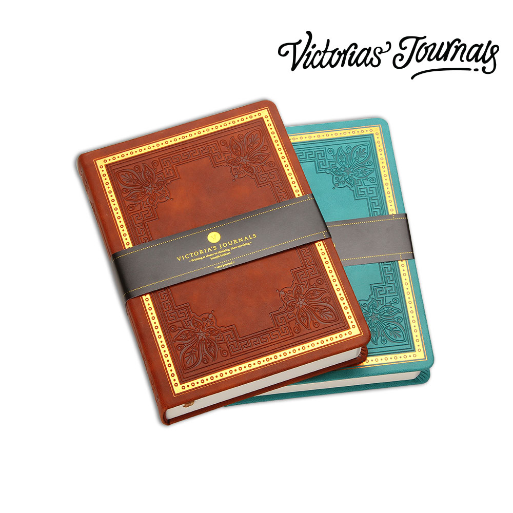 Victorias Journals Old Book Vintage BROWN Manuscript Leatherette Hard Cover Journal Notebook Diary