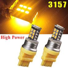 Luz LED de alta potencia para estacionamiento, Bombilla de freno, ámbar/amarillo, 3157, 3156, T25, 15W, 15 SMD, 3157A, color rojo y blanco, 2 uds.
