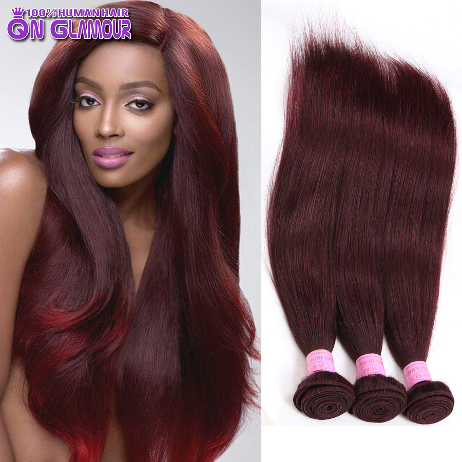 Mink 7a Burgundy Brazilian Straight Hair 4 Bundles 99j