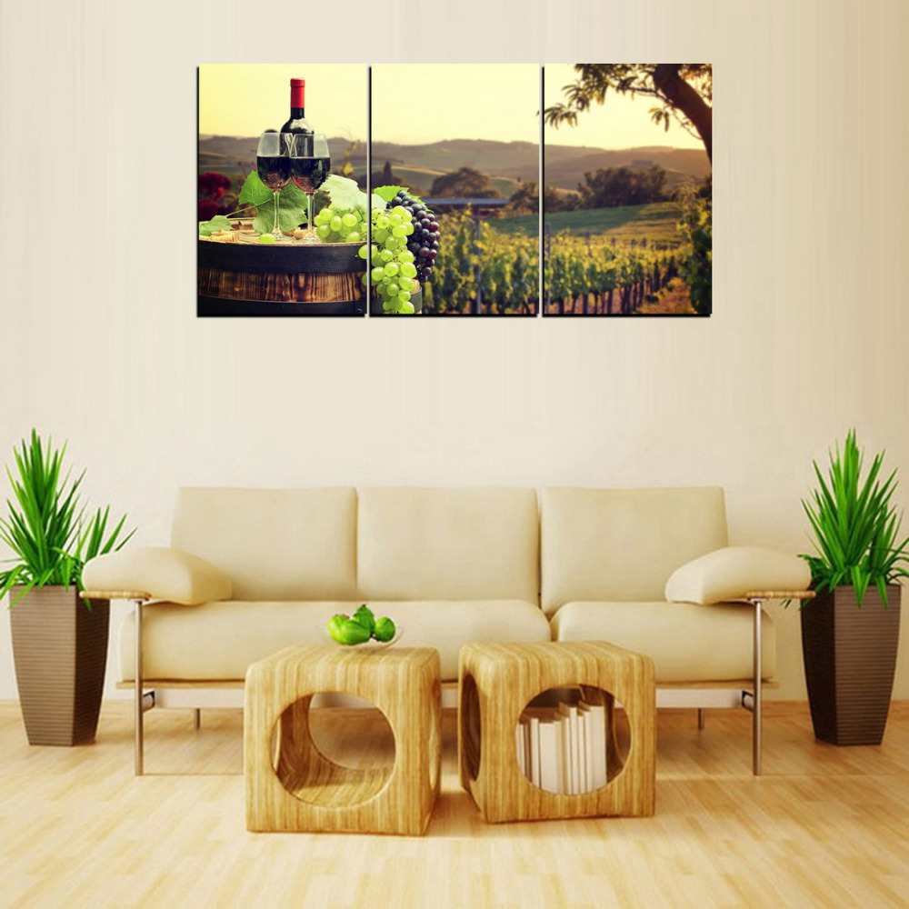 3 Panels Canvas Print Wine Grape And Wine Estate Painting On Canvas ...