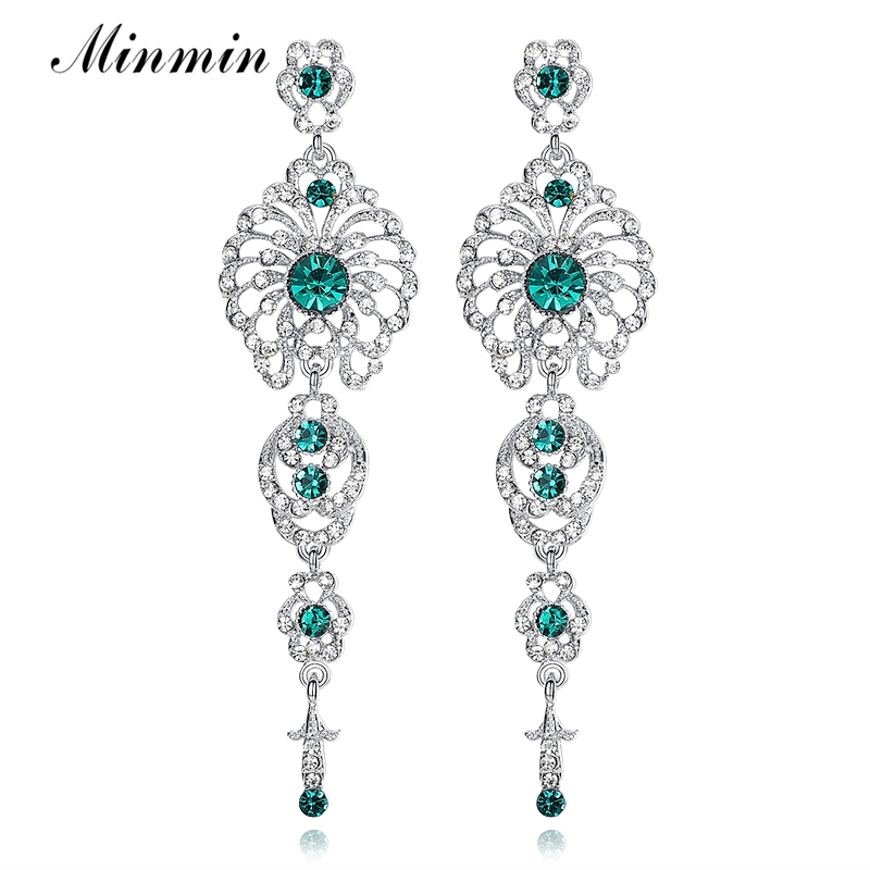 Minmin Green Crystal Long Drop Earrings Bridal Trendy