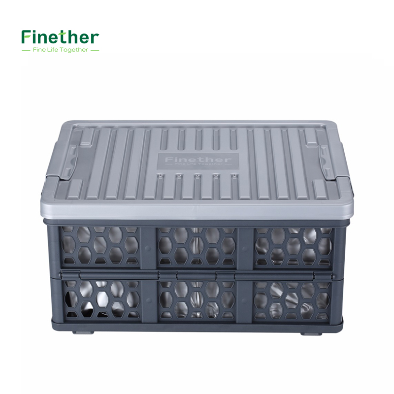 Finether fold storage crate collapsible utility plastic for Re storage crate