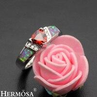 Precious Stone Jewelry Hot Garnet Mystic Fire Australian Opal 925 Sterling Silver Ring Size 7 DF48