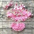 2017 новое прибытие детские летние dress девочка качели вершины swing dress розовый цветок качели наряды с соответствующими ruffed блумер набор