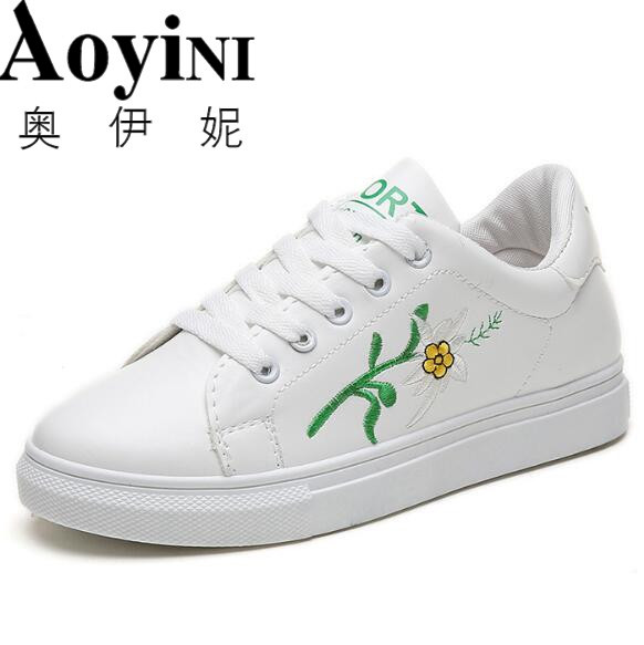 Womens White Shoes Solid Fashion Causual Shoes Embroidery Non-slip Women Shoes Sewing Shallow Sneakers Chaussure Femme