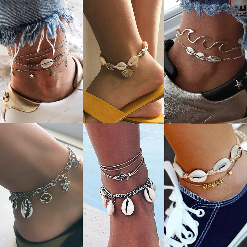 Shell Starfish Pendant Anklets for Women New Stone Beads Shell Anklet Bohemian Bracelets On Leg BOHO Ocean Jewelry Drop Shipping