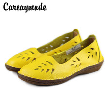 Careaymade - Hot selling,New 2017 summer Pure handmade head layer cowhide sandals,The Mori girl Hollow Casual flat women shoes