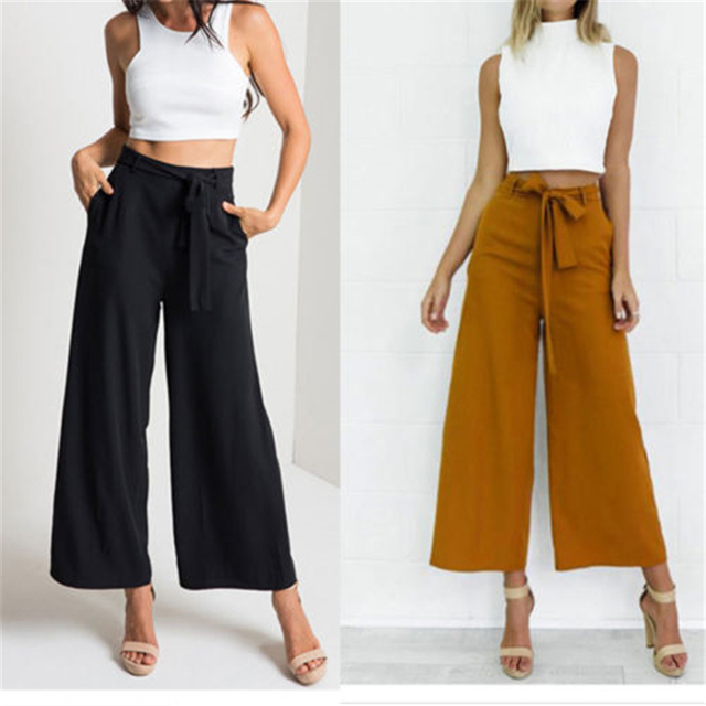 850019ff86ae4 New Arrival Black Chinese Women Cotton Pant Classic Loose Wide Leg Trousers  Elastic Waist Pants Size M L XL XXL