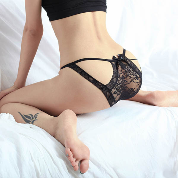 d8a216c2e91fa Women Sexy Bow-knot Lace Sheer Panties Briefs Knickers Underwear Black