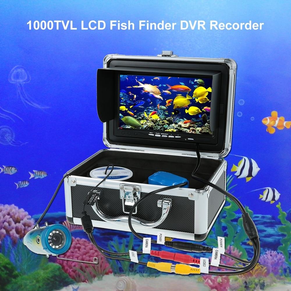 120 градусов hd видеорегистратор Водонепроницаемый Рыбалка видео мониторы 7 ''Цвет цифровой ЖК дисплей 1000TVL рыболокаторы 15 м/30 м кабель EU/US Plug
