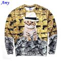 Hot 3D Sweatshirts Men Long Sleeve Thin Hoodies Good Casual Sweatshirt dollars Smoking cat Digital Printing Size S-XXL