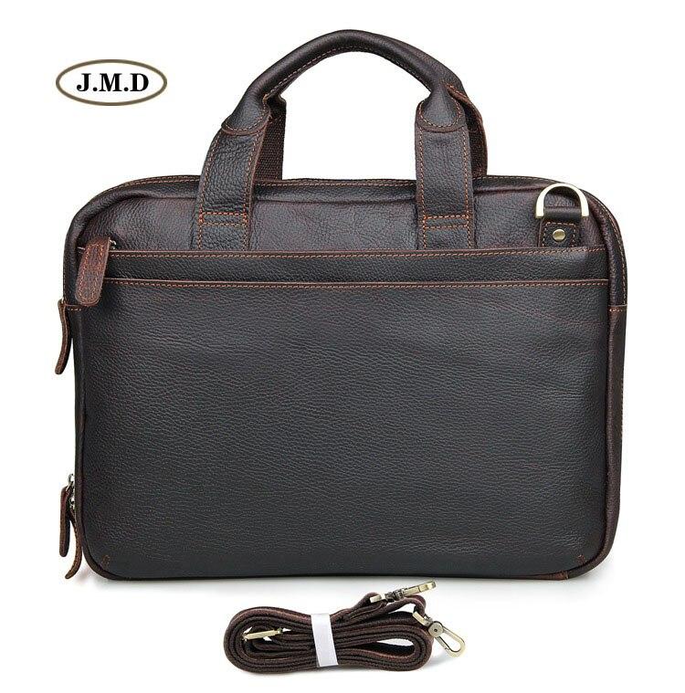 New Arrivals Genuine Cow Leather Brown Men's Briefcase Laptop Bag Shoulder Bag Men's Fashion Handbag 7092Q