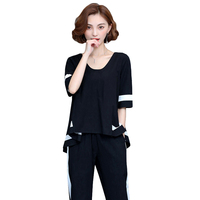Large Size Top And Shorts Elastic Waist 2 Piece Set Women Striped Women S Tracksuit Casual
