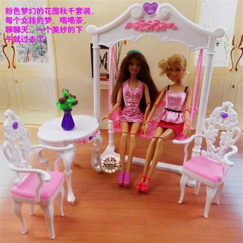 Для Барби кукольная мебель, аксессуары, игрушка садовый качели стол и стул играть во второй день чай спальня шкаф праздничный подарок девочка DIY