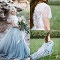Praia Boho Rendas Vestidos de Noiva de Alta-Neck A Linha Tulle Mangas Backless Light Blue Saias Plus Size Bridal vestidos de 2017