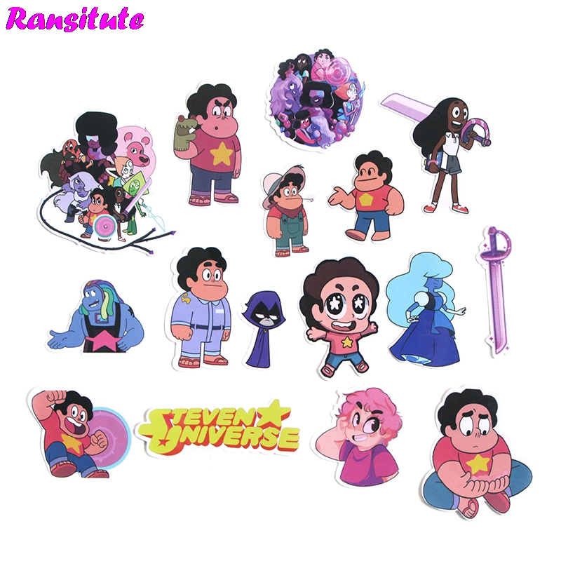 R187 60pcs/set Steven Universe Funny Children's Toy Stickers DIY Luggage Laptop Skateboard Phone Waterproof Stickers