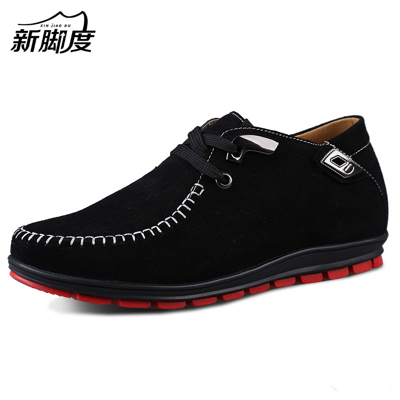 Comfortable Suede Leather Tall Men Shoes with Rubber Outsole Increase Height Man 6cm Invisibly Color Black Blue