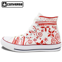 Merry Christmas Design White Converse Sneakers Women Men Brand All Star Hand Painted Canvas Shoes Original Chuck Taylor
