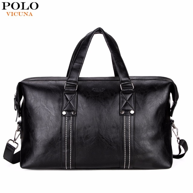 6e9272cc4b VICUNA POLO Men Travel Bags Leather Big Capacity Black Travel Handbag  Vintage Brand High Quality Packing