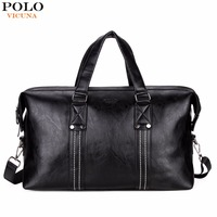 VICUNA POLO Men Travel Bags Leather Big Capacity Black Travel Handbag Vintage Brand High Quality Packing