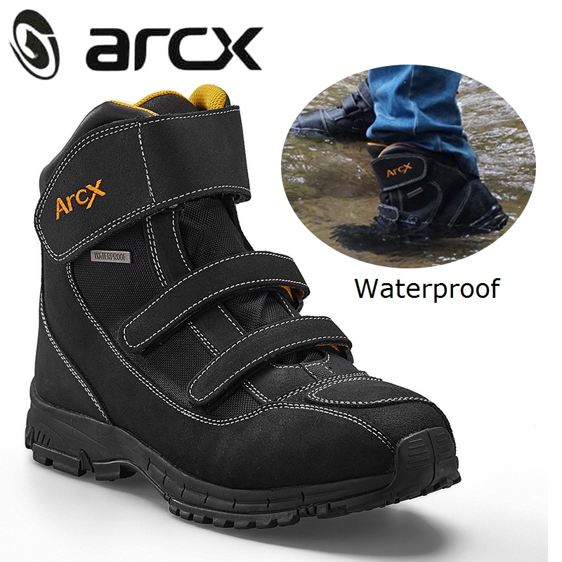 ARCX Waterproof Motorcycle Boots Men Motorcycle Shoes Genuine Cow Suede Leather Riding Biker Shoes Motorbike Botas Moto Boots distressed blue jeans men latin cow brand clothing mid stripe luxury denim destoyed men s moto biker jeans ripped uomo 802 c