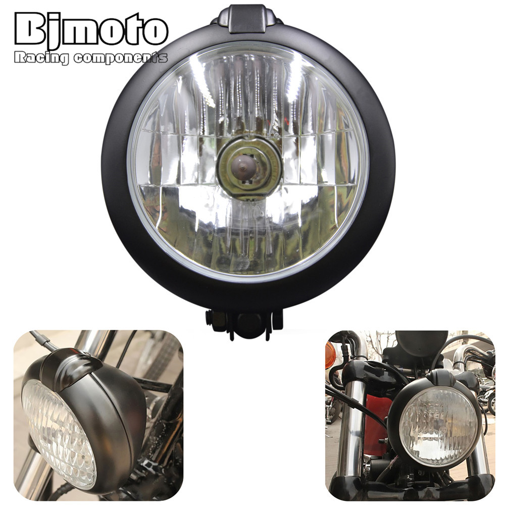 BJMOTO 6 3/4 Vintage Halogen Hi&Lo Beam Motorcycle Headlight Lamp Light For Harley Honda Yamaha Kawasaki suzuki motocross