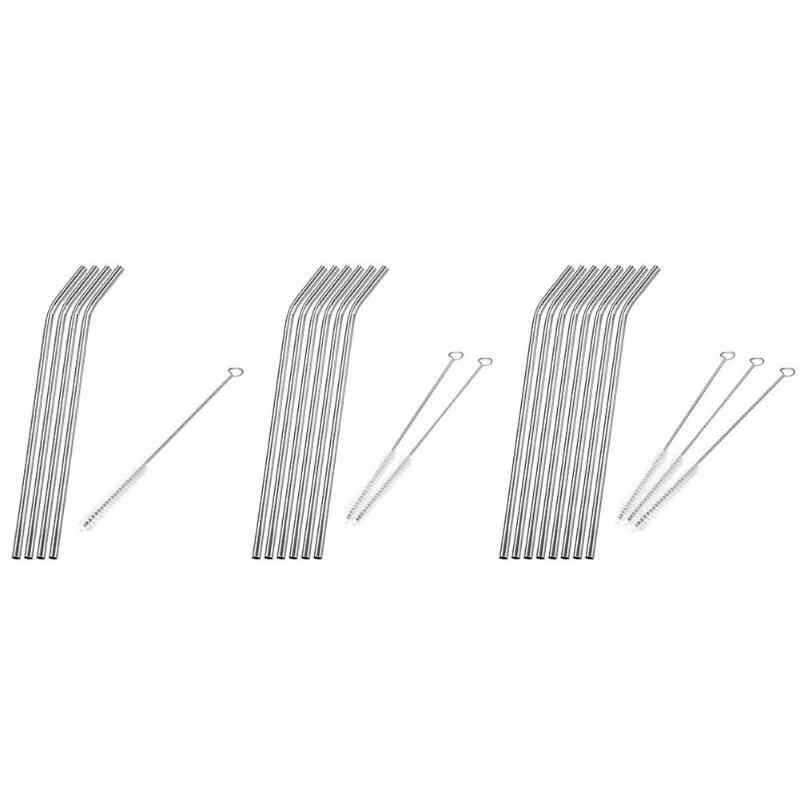 1-8 stuks Metalen Rietjes Herbruikbare Rietjes Rvs Rietjes Cleaner Brush Kit Thuis Party Bar Accessoires Drinkware