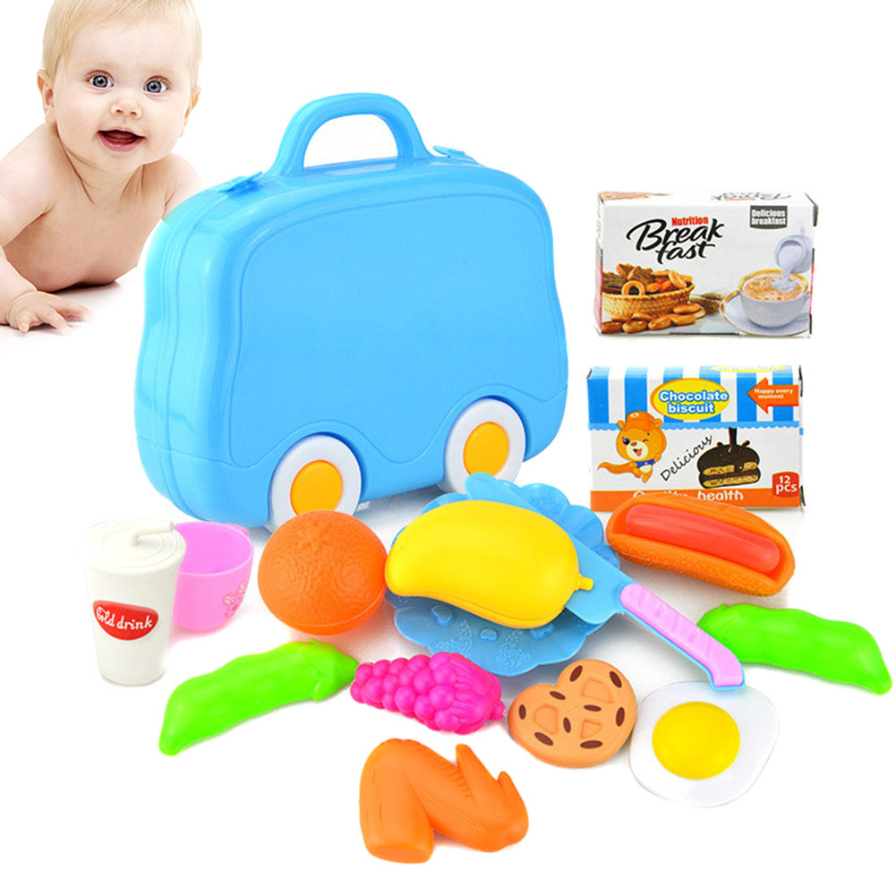 15Pcs/Set Plastic Fruit Meat Cutting Toy Early Development Education Toy for Children Kids YH-17