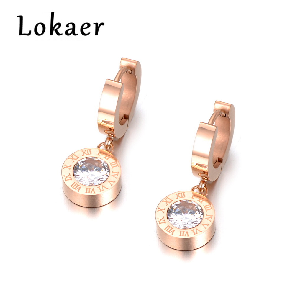 Hoop Earrings Candid Lokaer Fashion Cubic Zirconia Round Roma Number Steel Earrings Charming High Quality Jewelry For Women Girls E18041