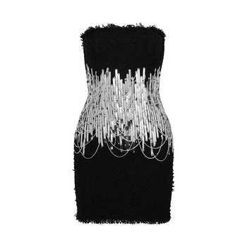 GALCAUR Sexy Strapless Dress For Women Sleeveless High Waist Sequined Patchwork Mini Dresses Female Fashion Summer 2020 New