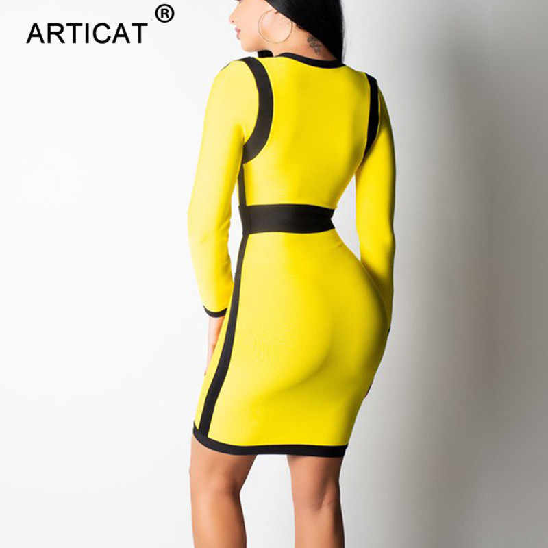 3e3bedcfe8d2 ... Articat Yellow Deep V Neck Sexy Bodycon Dress Women Long Sleeve Zipper  Short Bandage Autumn Winter ...
