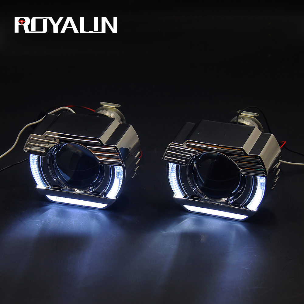 royalin led drl double angel eyes halo rings mini projector lens bi xenon h1 headlight shrouds white red h4 h7 auto lamps diy ROYALIN DRL LED Angel Eyes White Bi Xenon Mini Projector Lens H1 Head Light For Auto H4 H7 Lamps Retrofit W/ Flatboy Shrouds 2.5