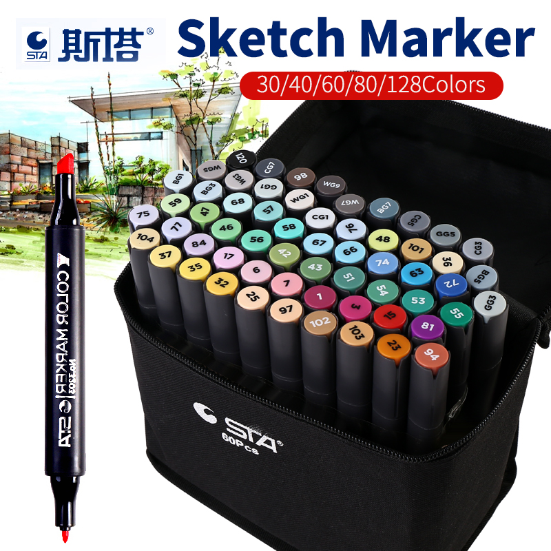 BGLN Artist Double Headed Art Marker Set 30/40/60/80 Colors Design Marker Animation Sketch Markers Pen For Drawing Art Supplies sketch marker pen 218 colors dual head sketch markers set for school student drawing posters design art supplies