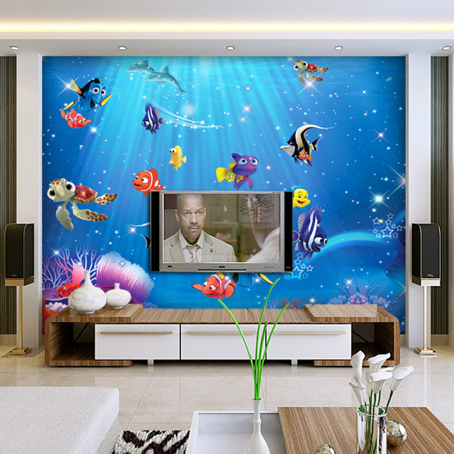 Awesome 3D Wall Murals Wallpaper Papel For Baby Kids Room 3d Photo Mural Wall Paper  Background Fish