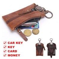 جلد طبيعي رئيسي المفاتيح يغطي حامل البطاقة سحاب المال عملة حالة حقيبة الرجال مدبرة لمفاتيح H-M2012 25% ٪