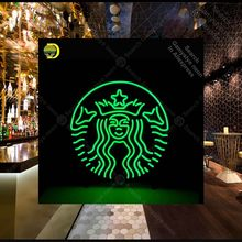 Neon Sign for Coffee Cafe Round Neon Bulb sign Iconic handcraft neon signboard coffee shop Green neon wall light anuncio luminos(China)