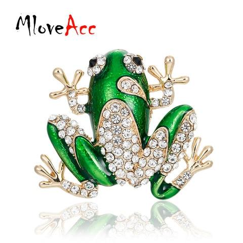 Mloveacc Новая зеленая брошка с кристаллами эмальта животное